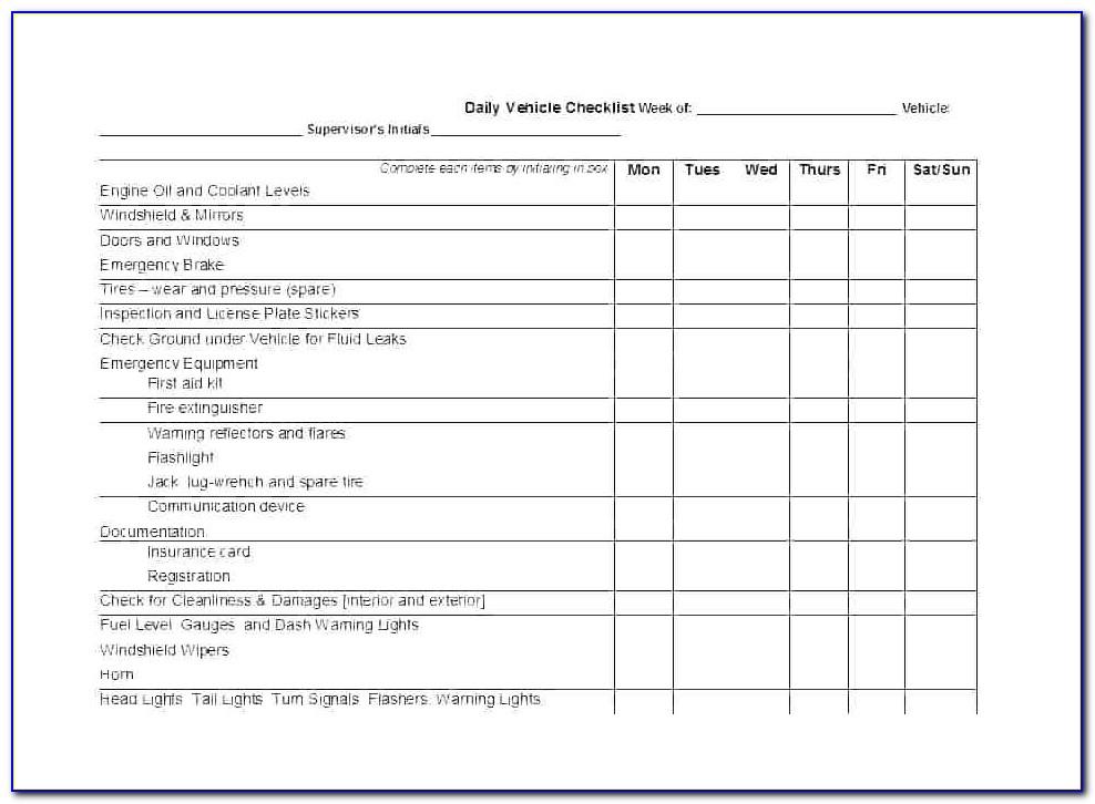 Fleet Vehicle Maintenance Checklist Template