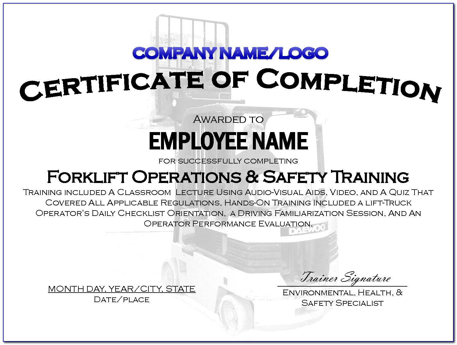 Forklift Certification Card Template Free