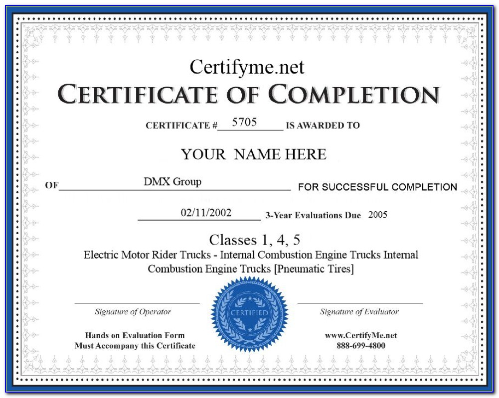 Forklift Certification Card Template Word