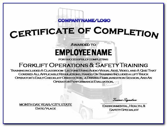 7 Best Images Of Forklift Certification Certificate Sample Forklift Certificate Template Forklift Certificate Template