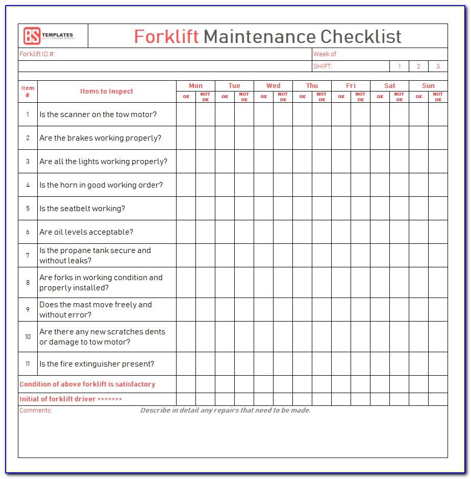 Forklift Checklist Template Pdf