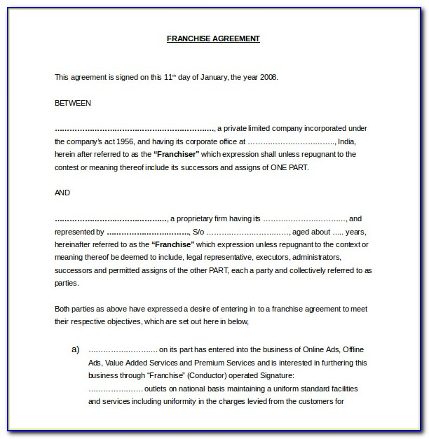 Franchise Agreement Template Free Uk