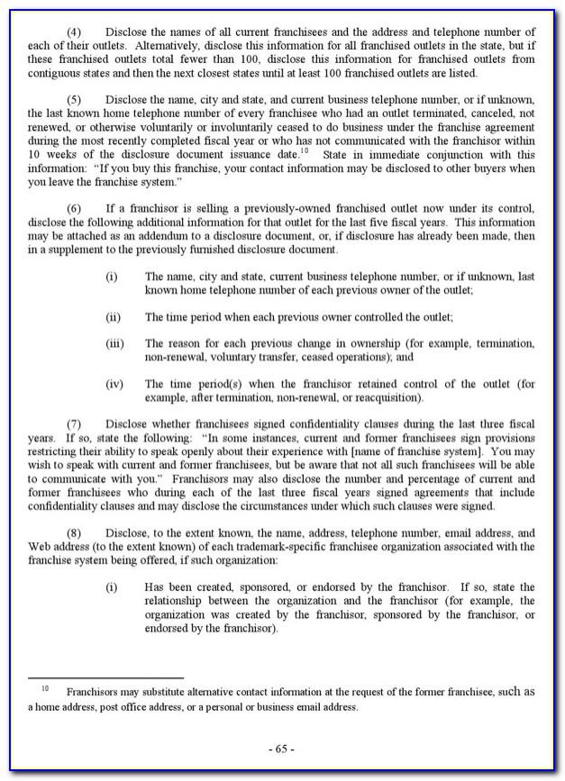 Franchise Disclosure Document Contents