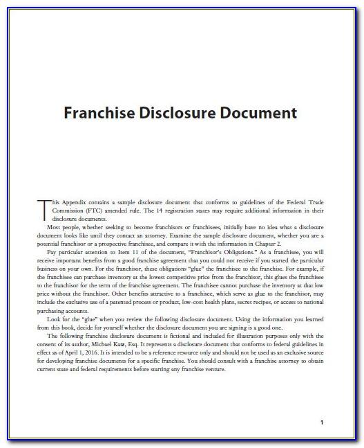 Franchise Disclosure Document Template Australia