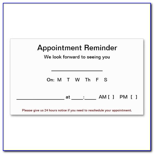 Free Appointment Reminder Card Template