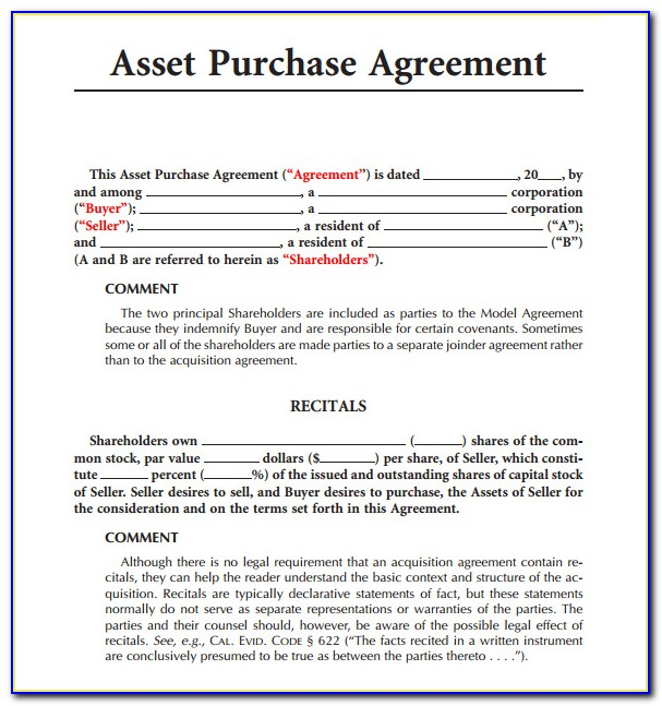 Free Asset Purchase Agreement Template
