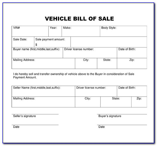 Free Bill Of Sale Template For Car Australia