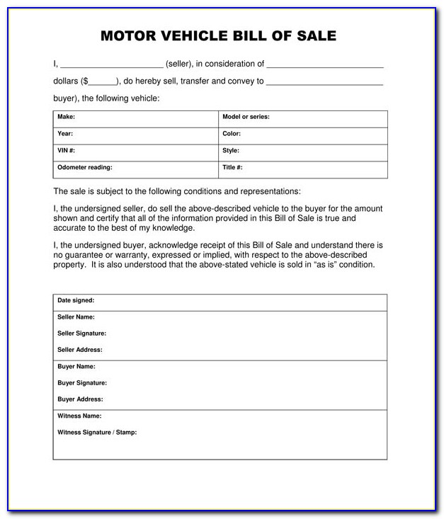 Free Bill Of Sale Template For Motor Vehicle