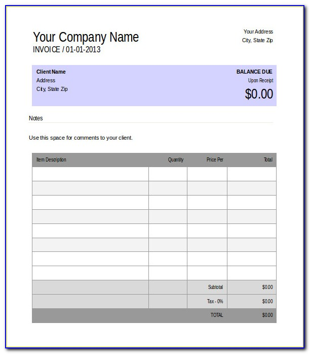 Free Blank Invoice Template Microsoft Works