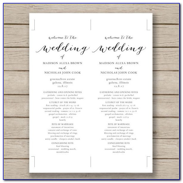 Free Catholic Wedding Ceremony Program Template