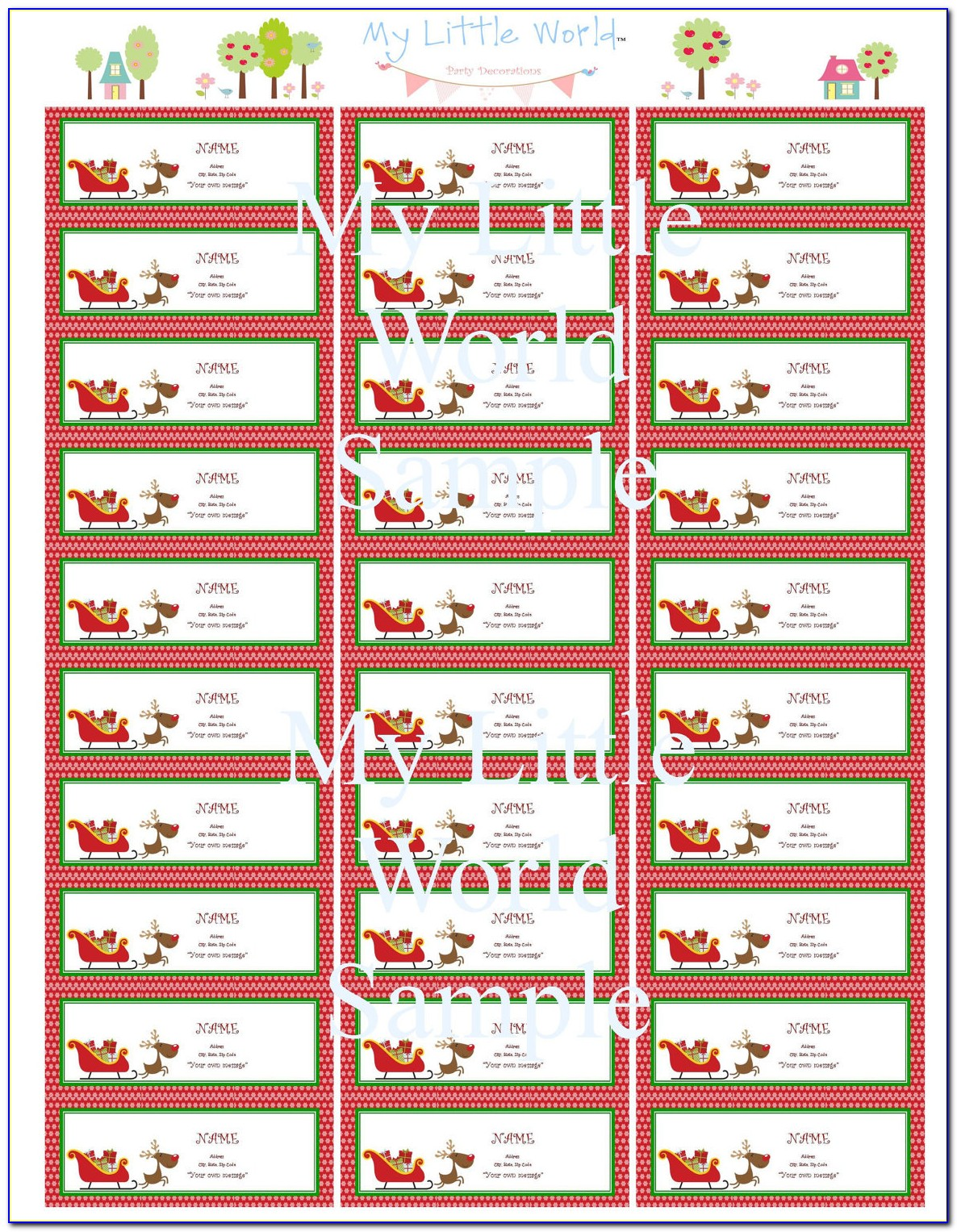 Free Christmas Return Address Labels Template