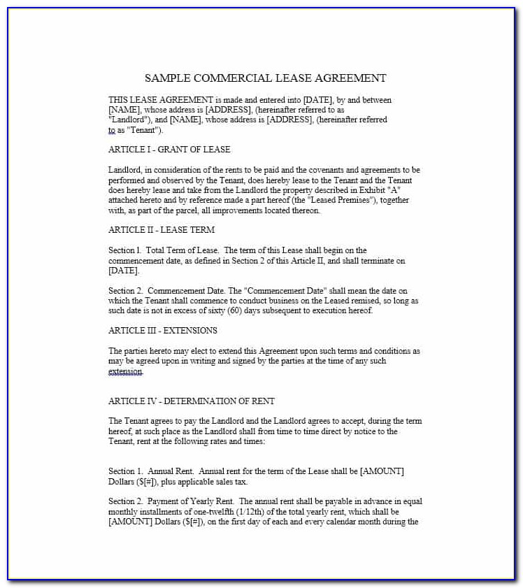 Free Commercial Lease Agreement Template Scotland