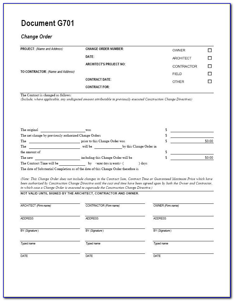 Free Construction Change Order Forms