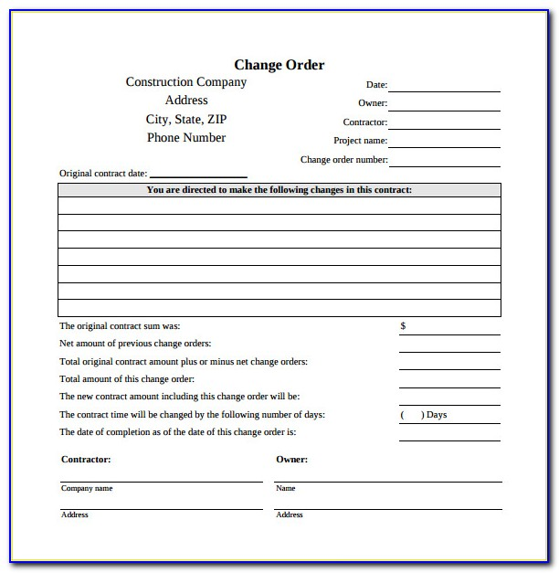 Free Construction Change Order Templates Download