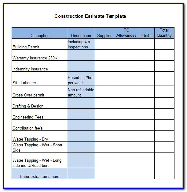 Free Construction Quotation Template