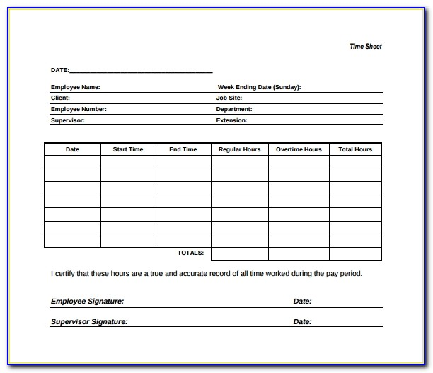Free Construction Time Sheets Template