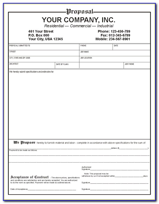 Free Construction Work Proposal Template