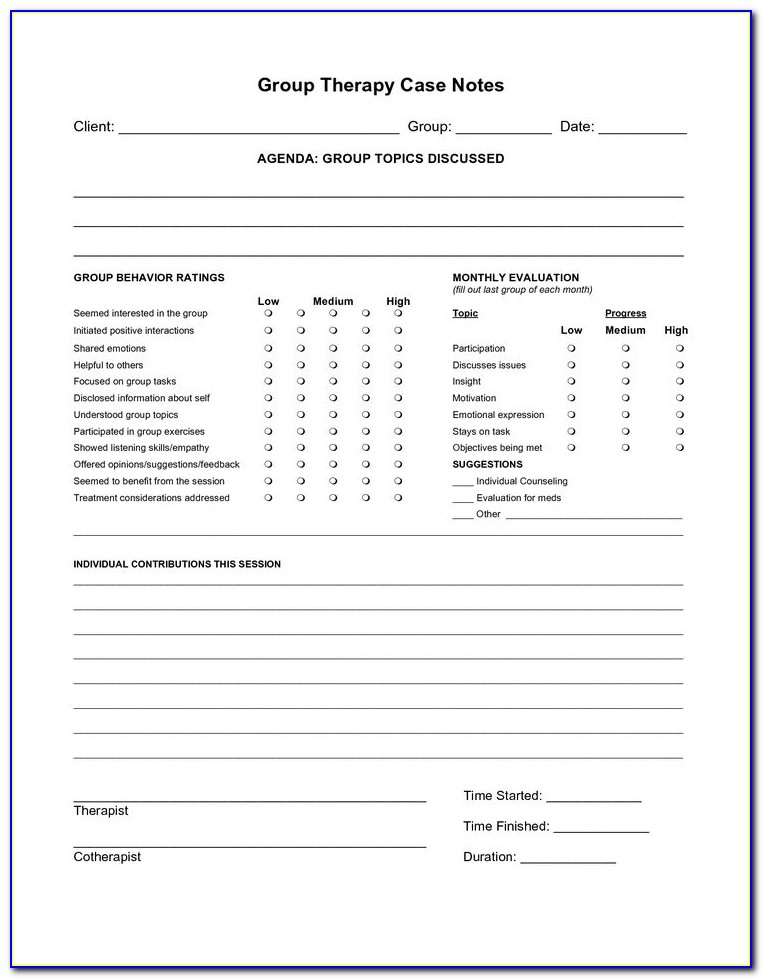 Free Counseling Case Notes Template