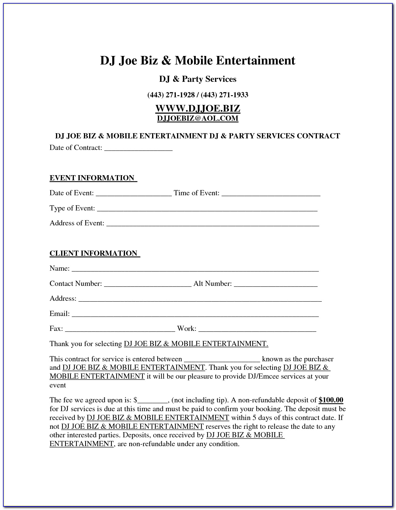 Free Dj Contract Form