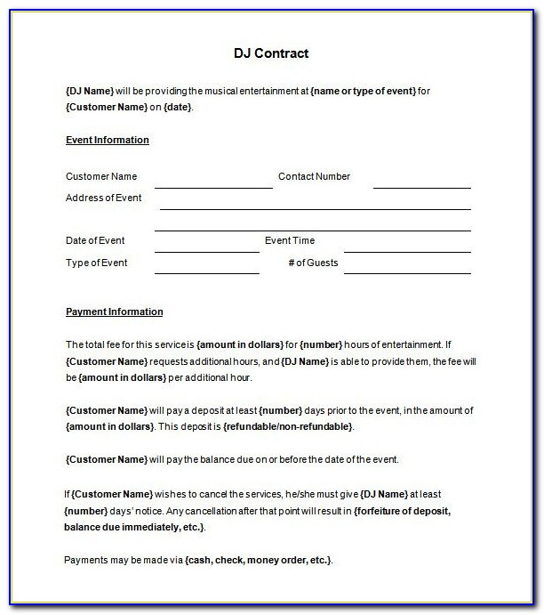 Free Dj Contract Template Word