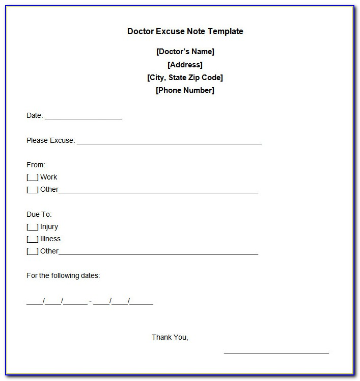 Free Doctors Excuse Template Download