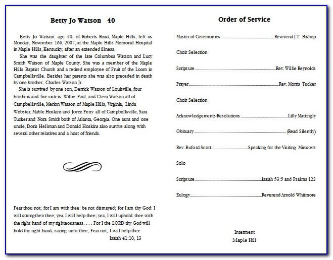 Free Editable Funeral Program Templates