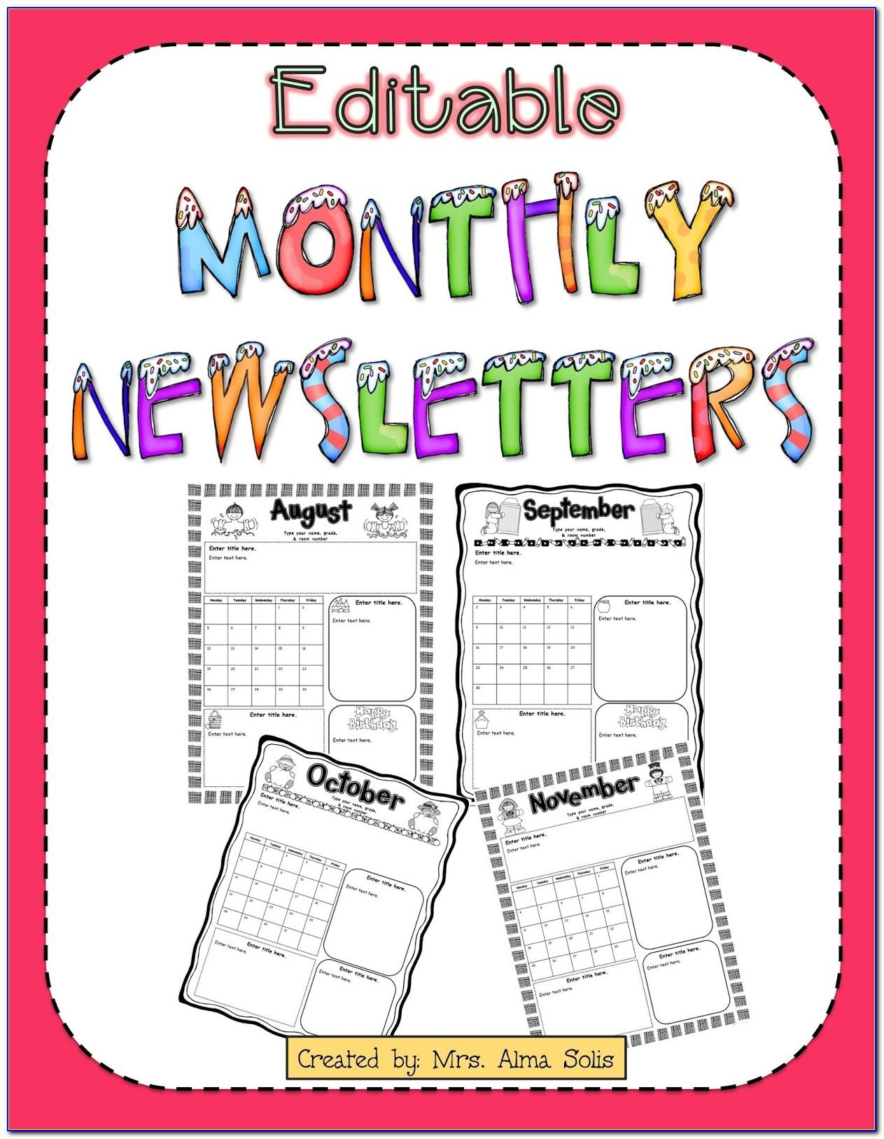 Free Editable Monthly Newsletter Templates For Teachers