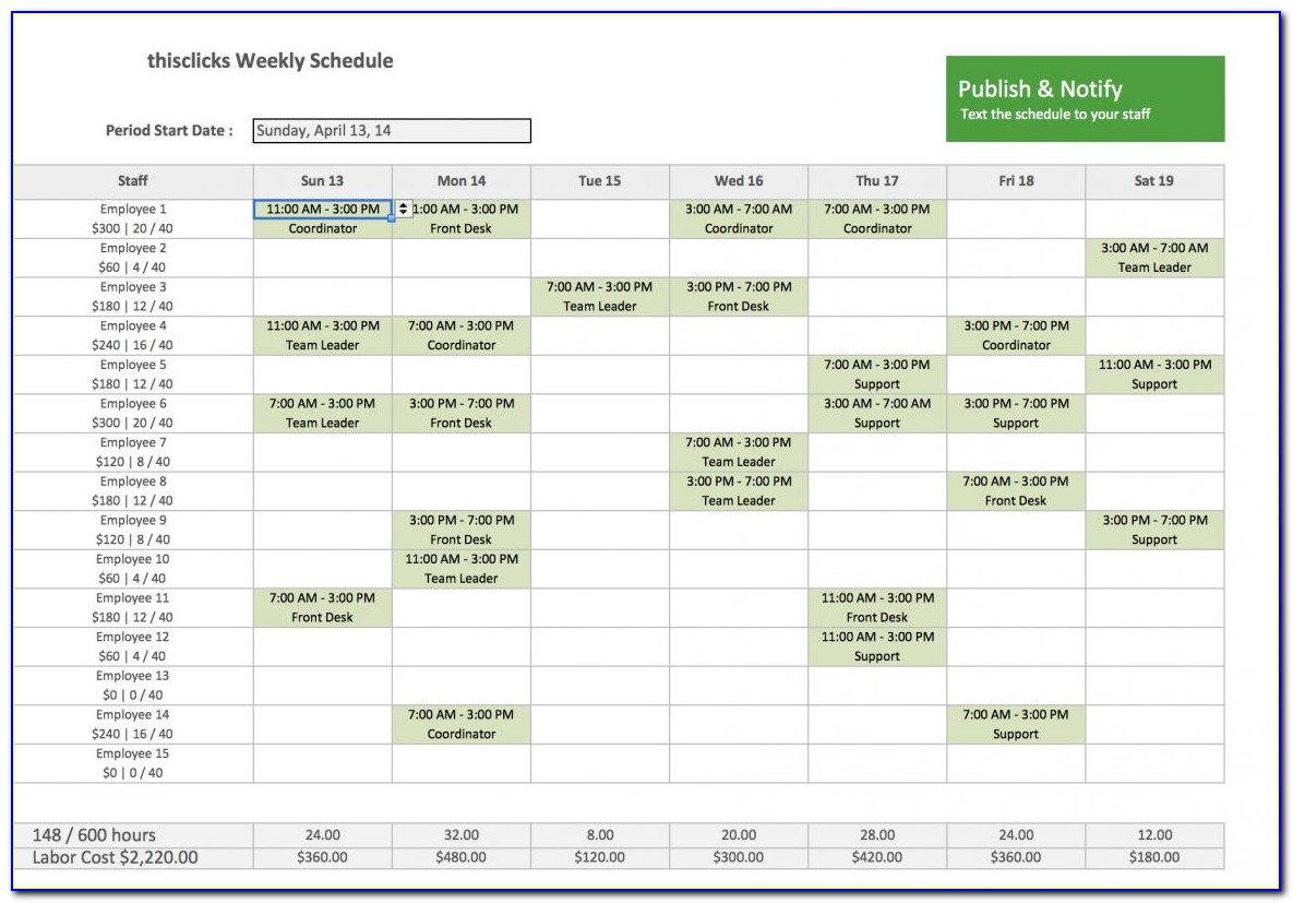 Free Employee Schedule Maker Excel Template