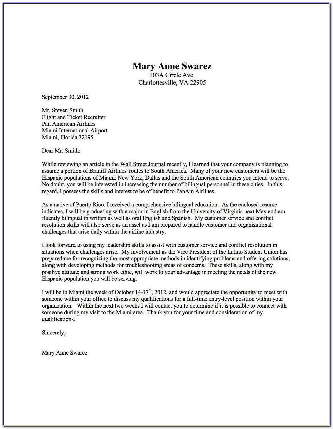 Free Examples Of Cover Letters