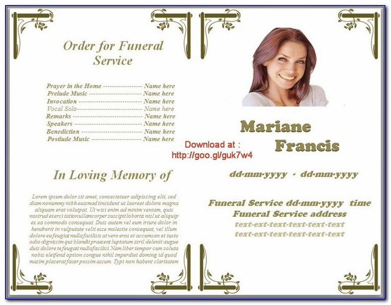 Free Funeral Program Template Photoshop