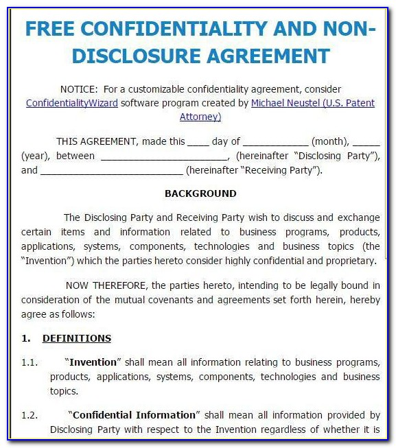 Free Invention Non Disclosure Agreement Template
