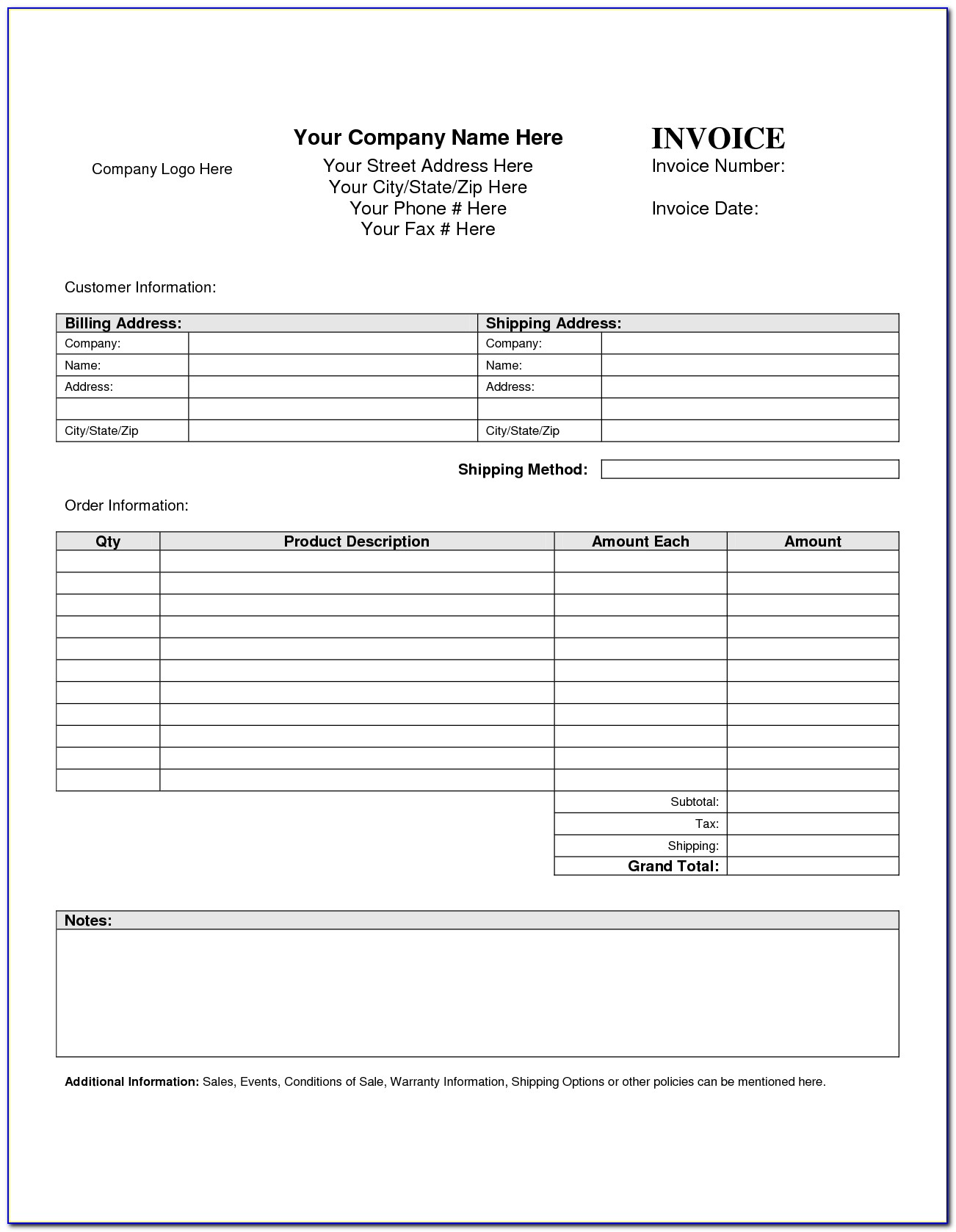 Free Invoice Document Template