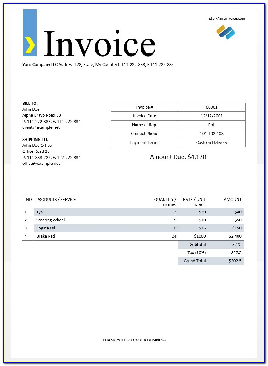Free Invoice Sheet Template