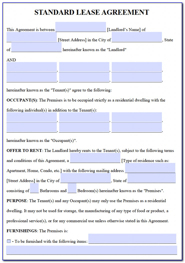 Free Lease Agreement Template Word California