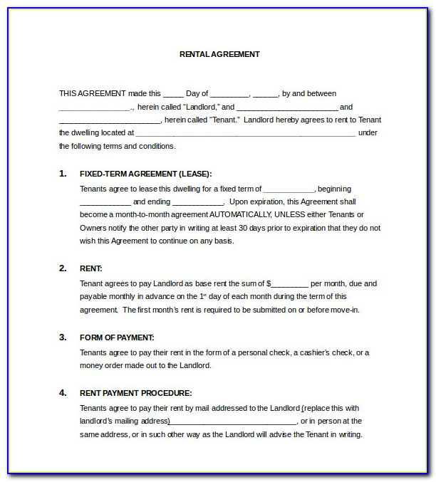 Free Lease Agreement Template Word Ireland
