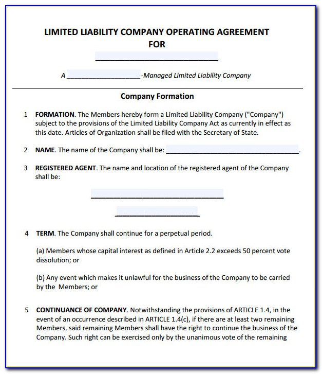 Free Llc Operating Agreement Template Download