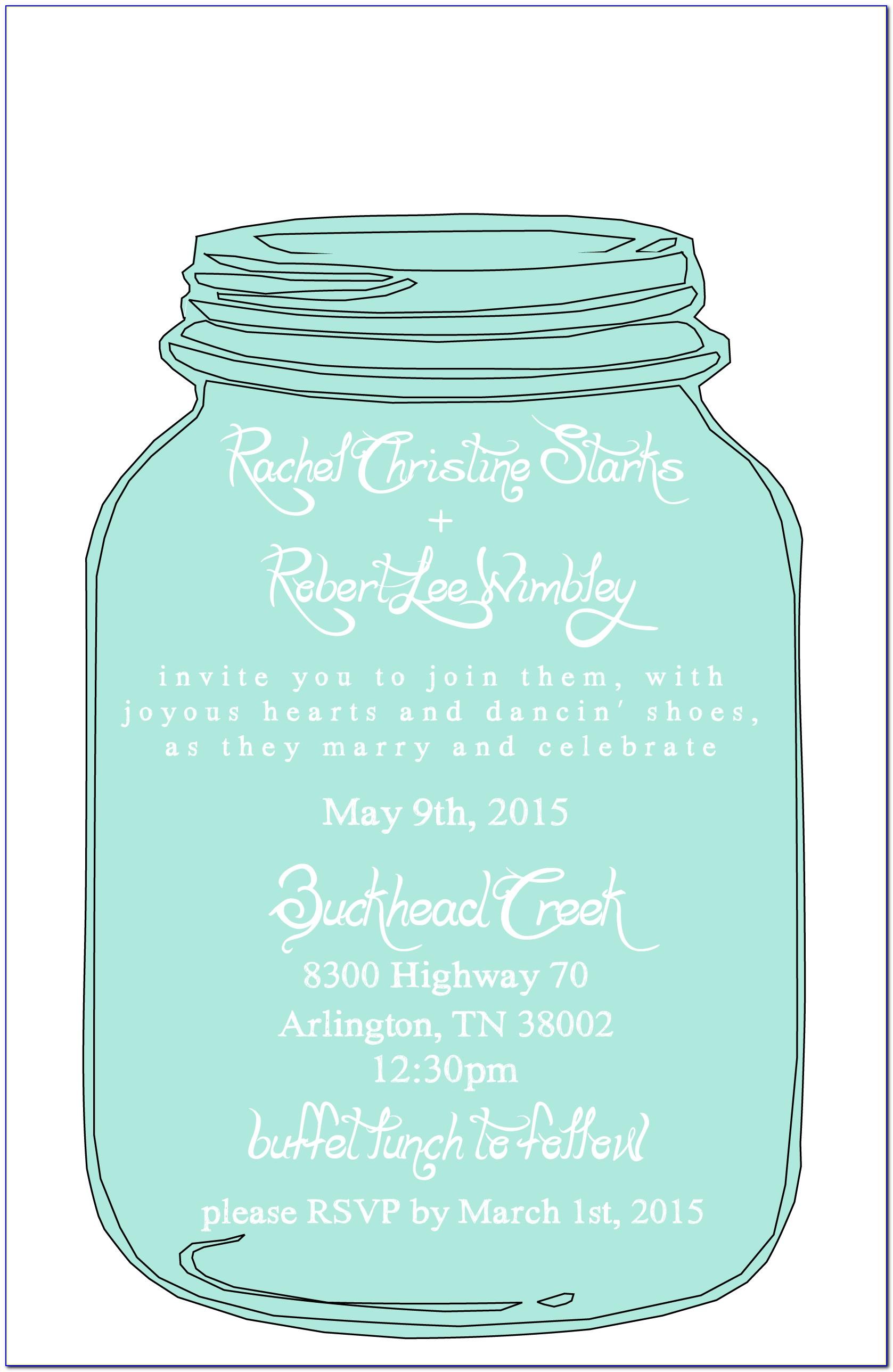 Free Mason Jar Wedding Invitation Templates