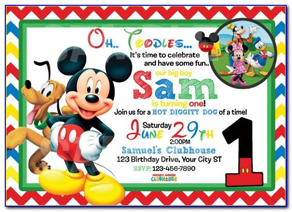 Free Mickey Mouse Birthday Invitation Card Maker