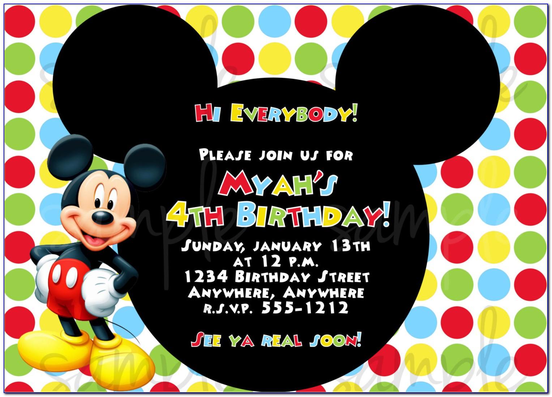 Free Mickey Mouse Birthday Invitation Templates
