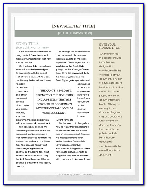 Free Newsletter Templates For Word 2010
