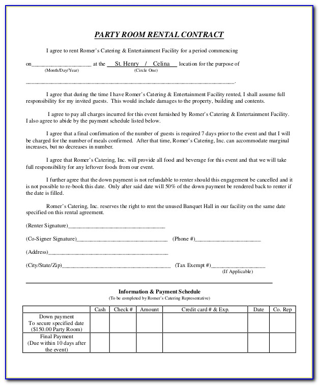 Free Party Rental Contract Template