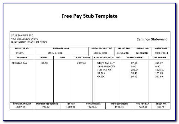 Free Paycheck Stub Templates Download
