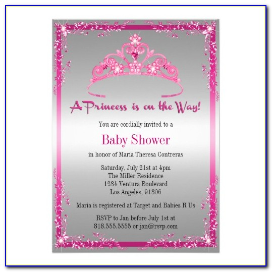 Free Princess Baby Shower Invitations