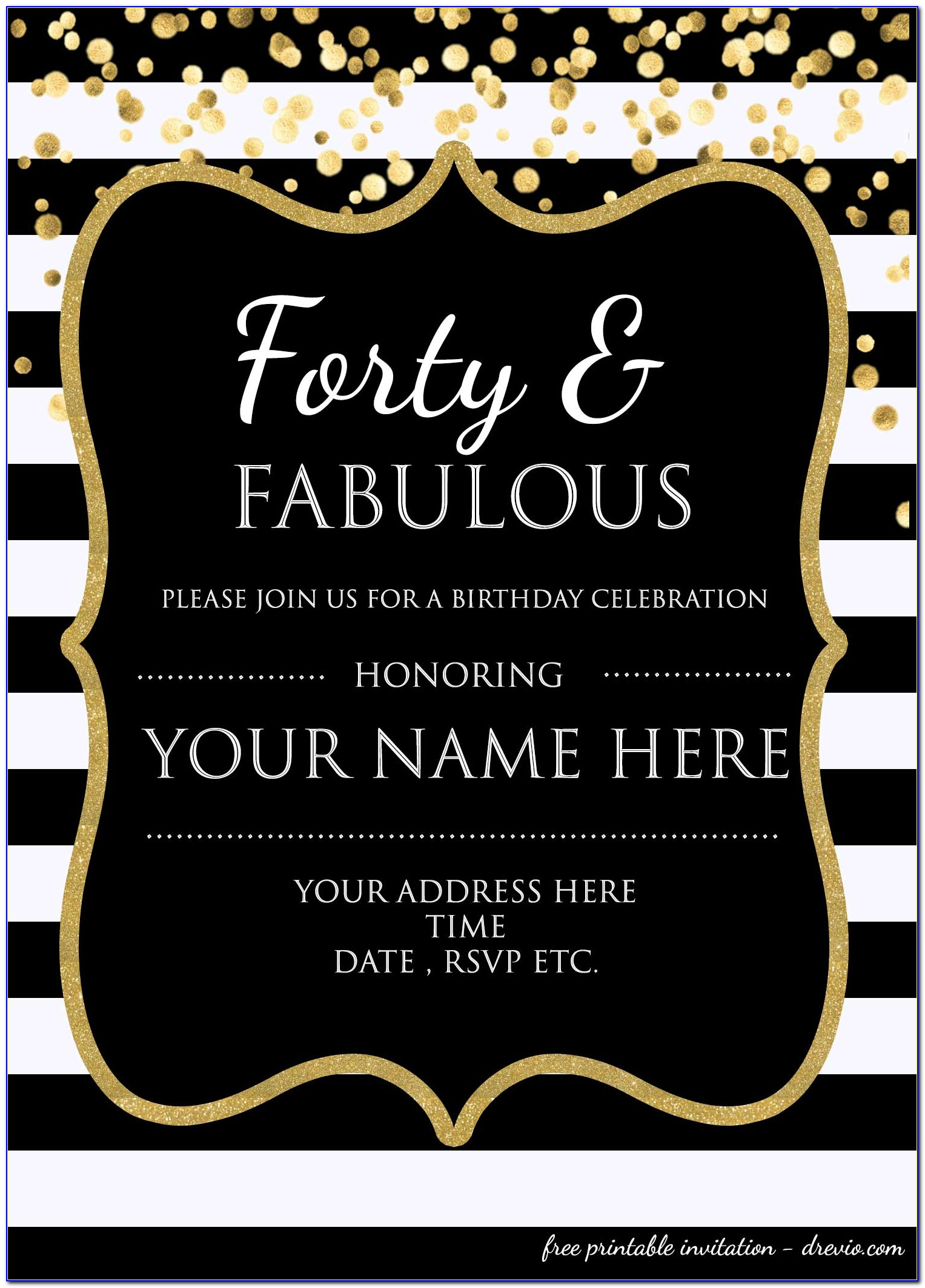 Free Printable 40th Birthday Invitations Templates