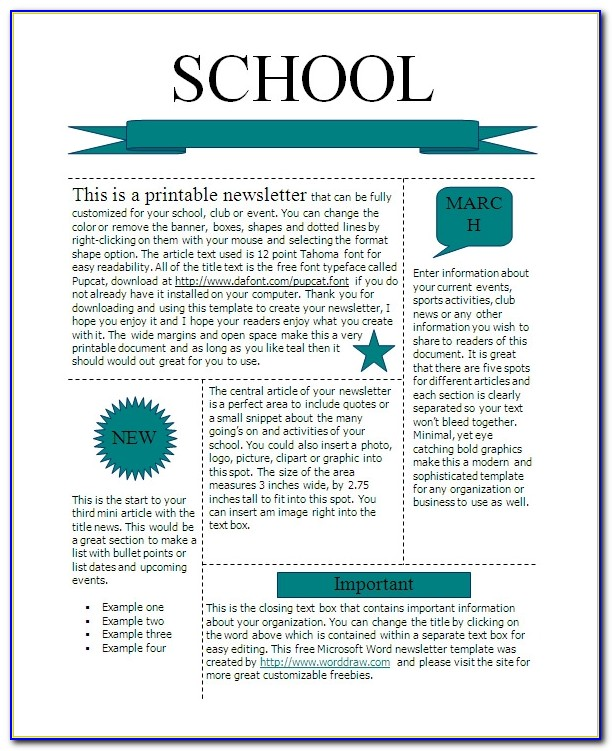 Free Printable Classroom Newsletter Templates