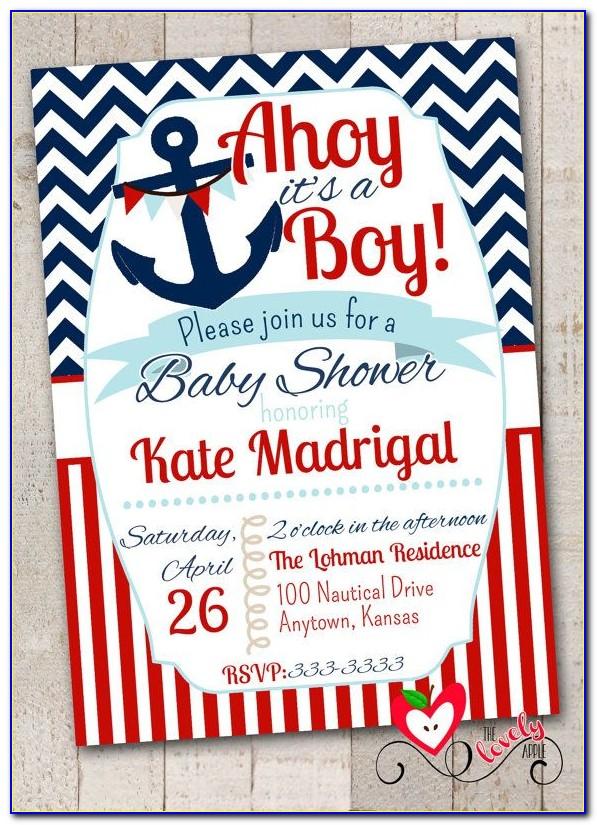 Free Printable Nautical Baby Shower Invitations Templates
