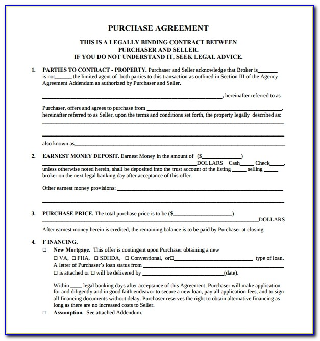 Free Printable Real Estate Purchase Agreement Forms