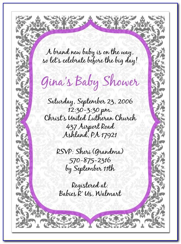 Free Purple Baby Shower Invitation Templates