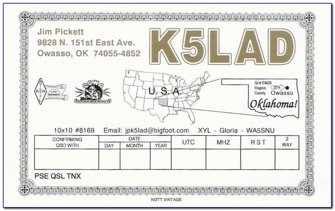 Free Qsl Cards Templates