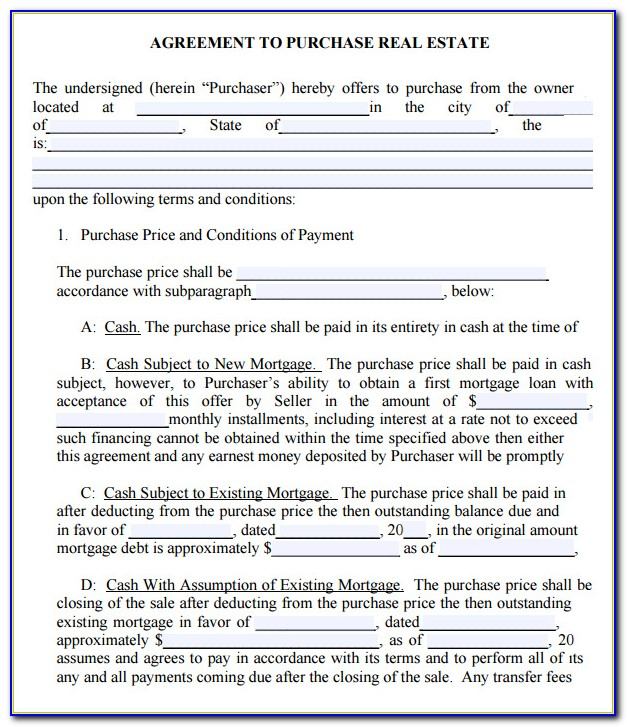 Free Real Estate Purchase Contract Template